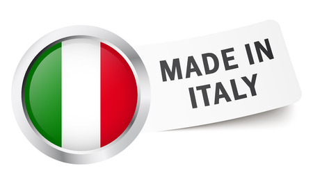 made in italy: Button with flag MADE IN ITALY