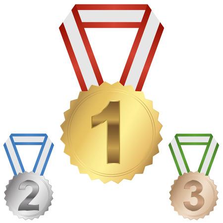 characterize: medallones para el primer, segundo y tercer lugar Vectores