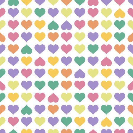 fabric samples: abstract seamless background with hearts in different colors