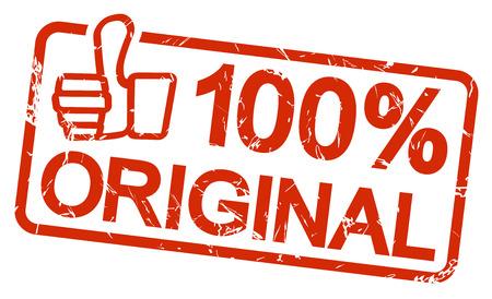 zakelijk: rode grunge stempel met frame, duimen omhoog en tekst 100% ORIGINAL
