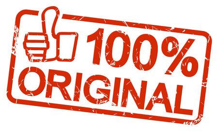 rode grunge stempel met frame, duimen omhoog en tekst 100% ORIGINAL Vector Illustratie