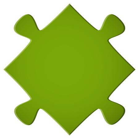 piezas de rompecabezas: sencilla pieza del rompecabezas verde para el trabajo en equipo y de negocios simbolismo