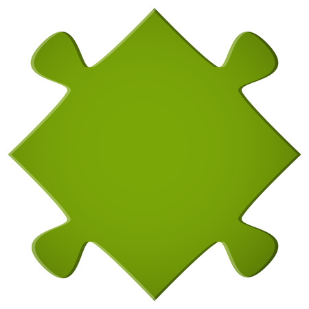 pieces: simple green puzzle piece for teamwork and business symbolism