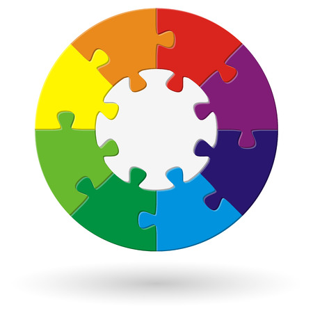 merge together: round puzzle with base and eight options in different colors