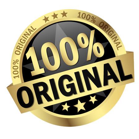 farbenen Taste mit Fahne 100% Vorlage Vektorgrafik