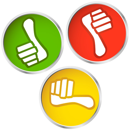 yes or no: colored buttons with thumbs up and down for yes and no