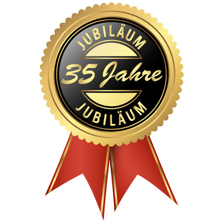 jubilee: seal colored black and gold with red ribbons for thirty-five years jubilee