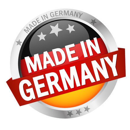 made in germany: round button with banner, country flag and text MADE IN GERMANY