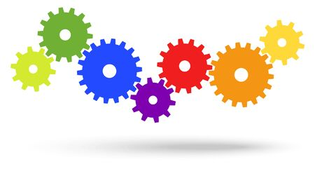 successfully: different colored gears for cooperation or teamwork symbolism with shadow