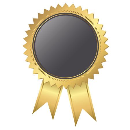 sello de oro de la plantilla de calidad con cintas y base de negro