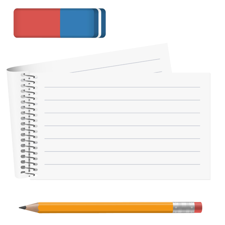 writing pad: white paper pad with pencil and eraser Illustration