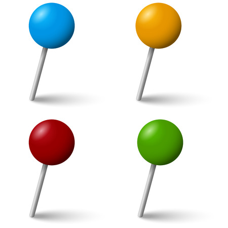 needles: collection of colored pin needles with shadow Illustration