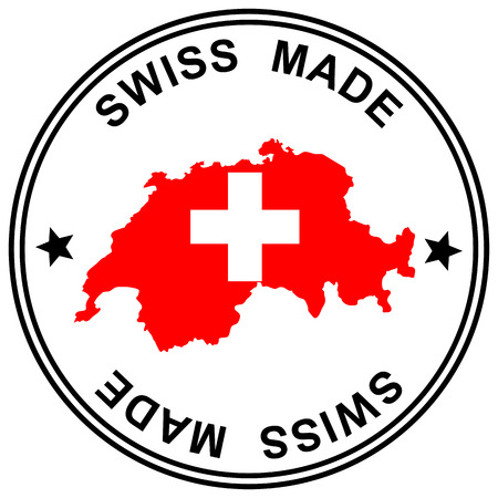 customercare: round patch  Swiss Made  with silhouette of switzerland Illustration