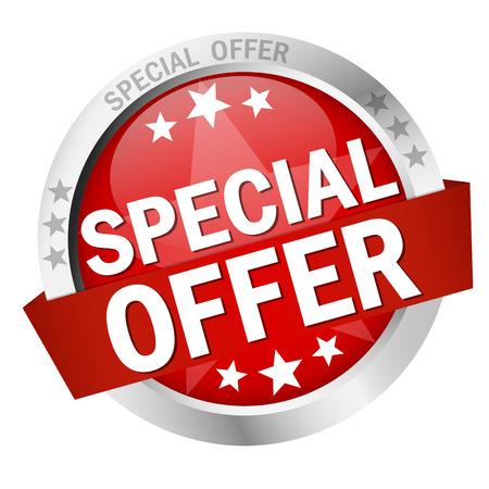 Bouton rond de couleur avec la bannière Offre spéciale Banque d'images - 41826877