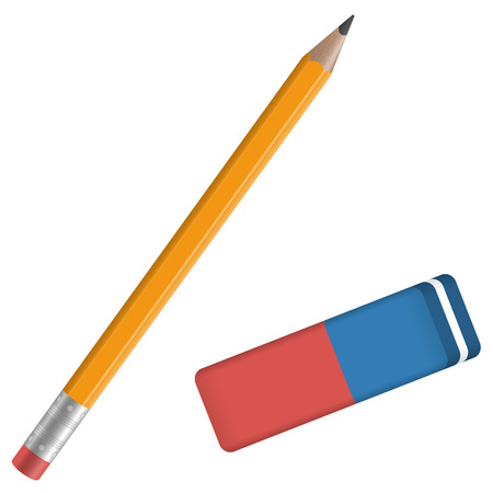 little school equipment with orange Pencil and red and blue eraser