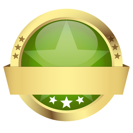 customercare: template of green button with golden frame and banner