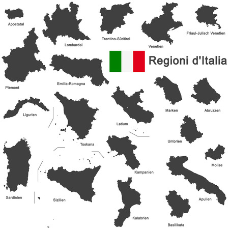 silhouettes of european country Italia and the regions