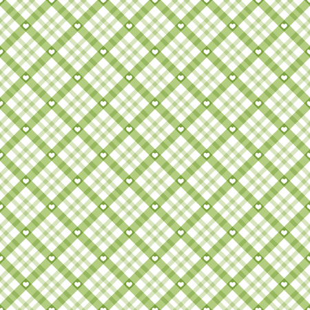 green checkered table cloth background with white hearts Ilustrace