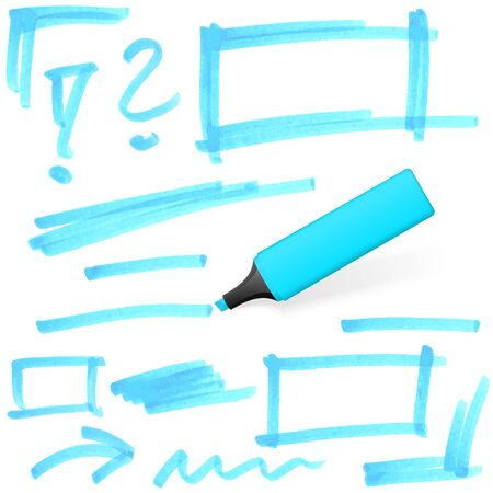 office supply: blue colored highlighter with different hand drawn markings Illustration