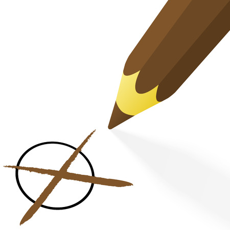 off the hook: illustration of pencil colored brown drawing a cross
