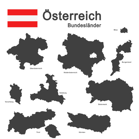 federal states: silhouettes of Austria and the federal states Illustration