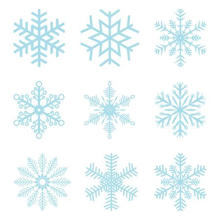 festively: collection of different blue snowflakes on white background Illustration