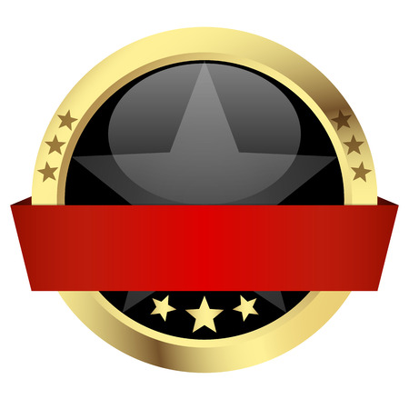 customercare: template button with golden frame, black center and red banner