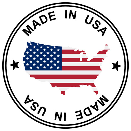 customercare: round patch  Made in USA  with silhouette of USA Illustration