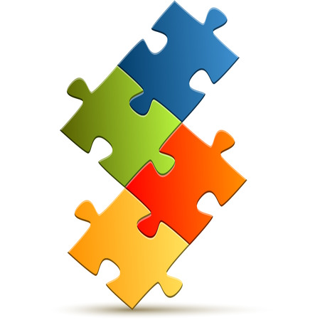 symbolism: puzzle with four colored parts for teamwork symbolism Illustration