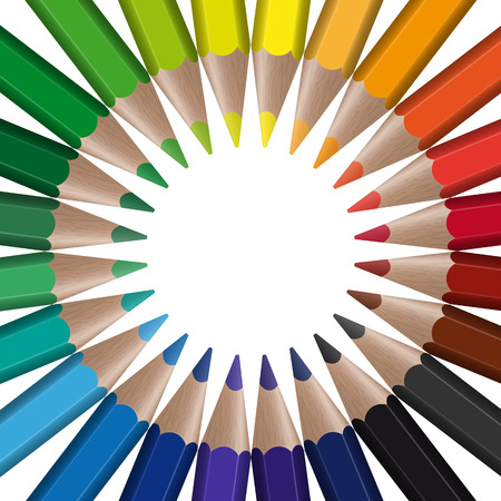 color pencil: circle of different colored pencils with empty center point