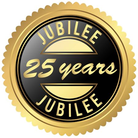 jubilee: round seal colored black and gold for twenty-five years jubilee