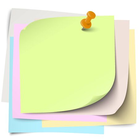 block note: little sticky papers wild about each other with colored pin needle and free copy space