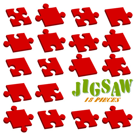 collection red: collection of all puzzle parts colored red