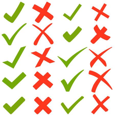 cruz roja: colecci�n de ganchos verdes y cruces rojas