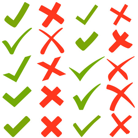 Zbiór zielonych haki i czerwonymi krzyżami Ilustracje wektorowe