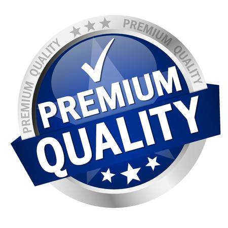 quality service: round button with banner and text Premium Quality
