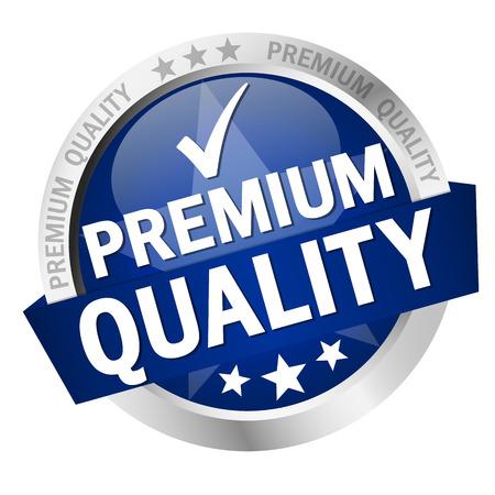 Runder Knopf mit Banner und Text Premium Quality Standard-Bild - 42795516