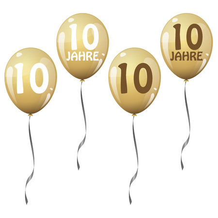 10: four golden jubilee balloons for 10 years