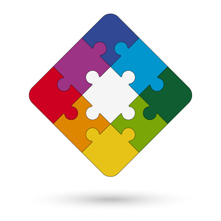 symbolism: square puzzle with center and colored options for teamwork symbolism
