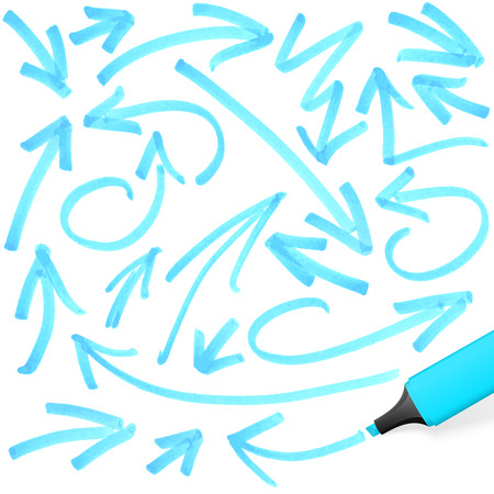 text marker: blue colored highlighter with different hand drawn markings Illustration
