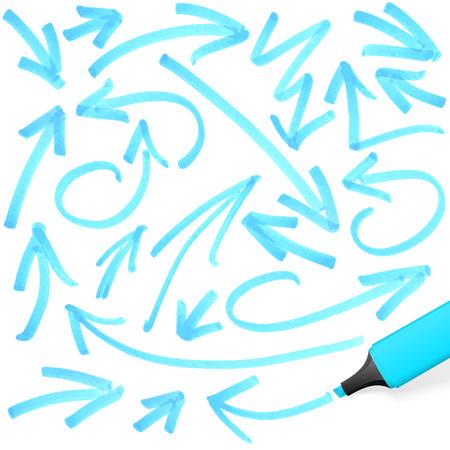 marker: rotulador de color azul con diferentes marcas dibujadas a mano