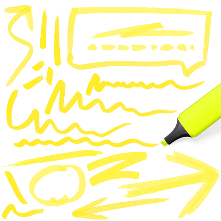 markings: yellow colored highlighter with different hand drawn markings Illustration