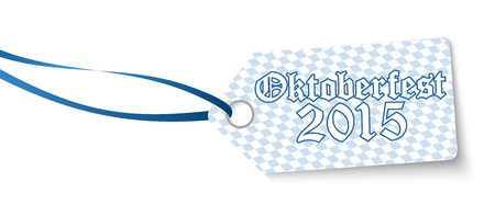 wiesn: hangtag with blue white checkered pattern and text Oktoberfest 2015 Illustration