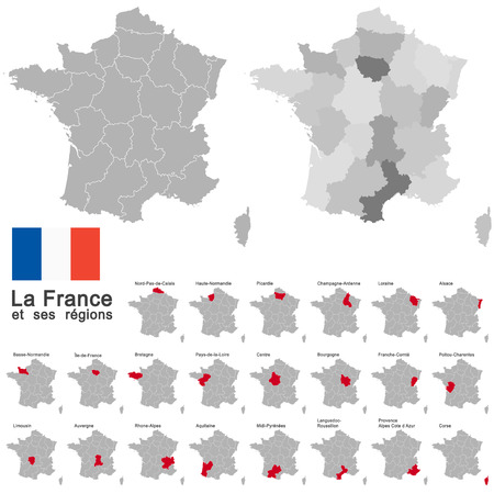 details: european country france and all regions in details