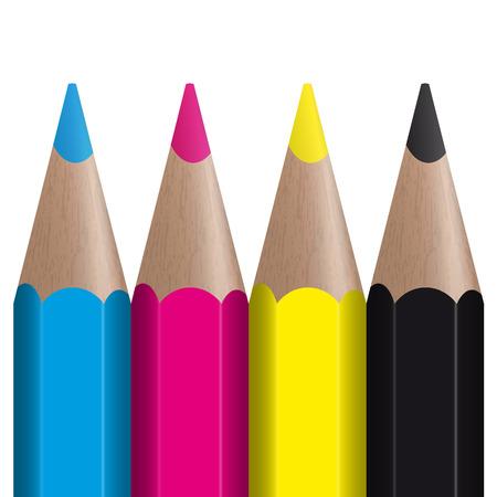 color range: four colored pencils showing CMYK color management
