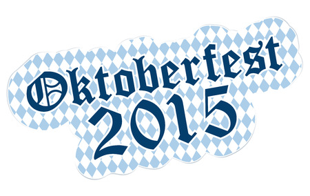 beer garden: patch with checkered pattern and text Oktoberfest 2015