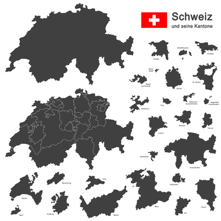 silhouettes of country Switzerland and all cantons Vettoriali