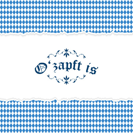 solemnity: Oktoberfest background with ripped open paper having blue-white checkered pattern and text Ozapft is