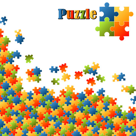 corner of colored puzzle parts with white background