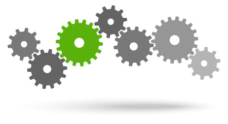 symbolism: gray gears for cooperation or teamwork symbolism with green leader
